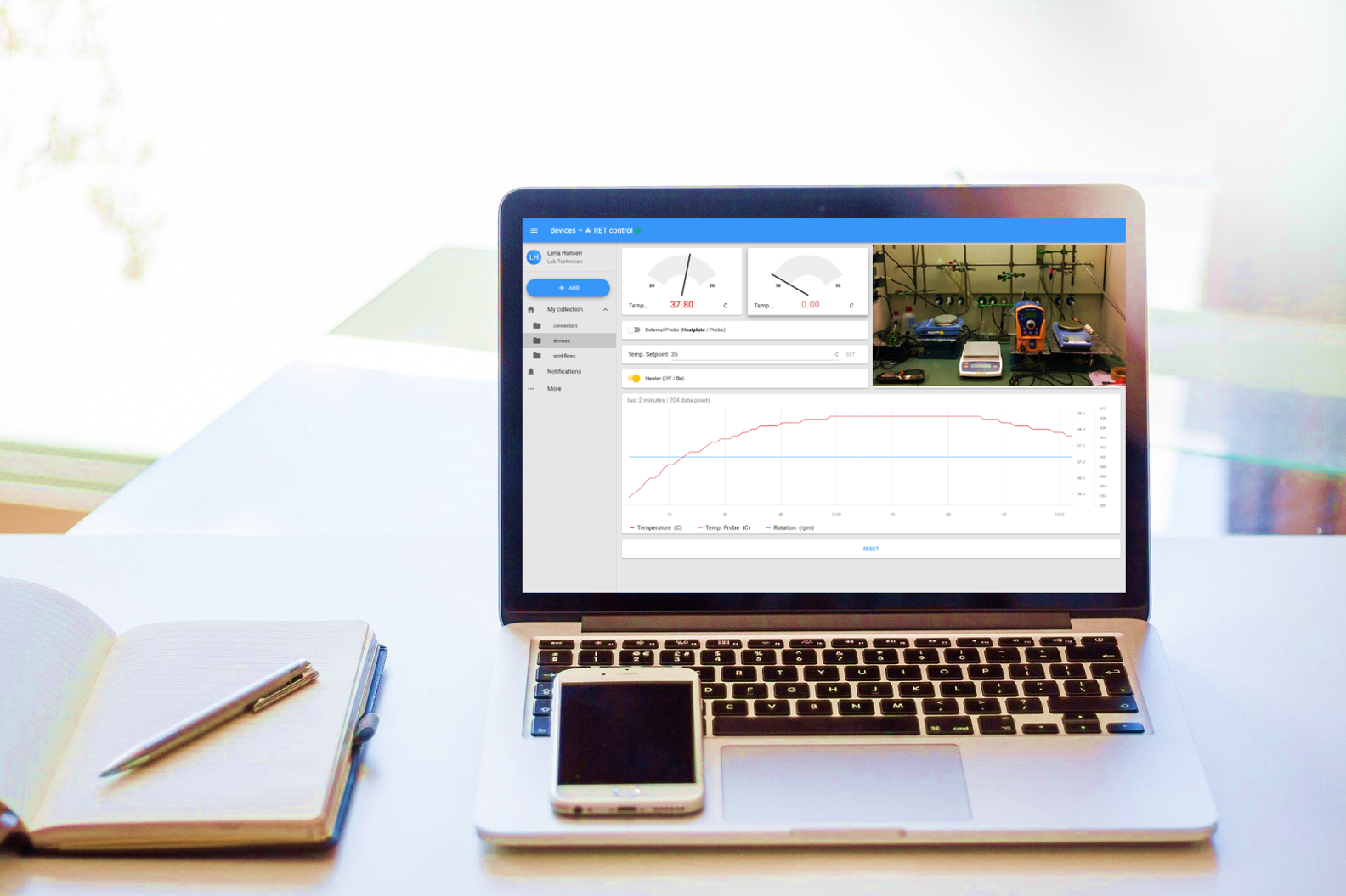 Advantages of lab monitoring, laptop with Laboperator interface