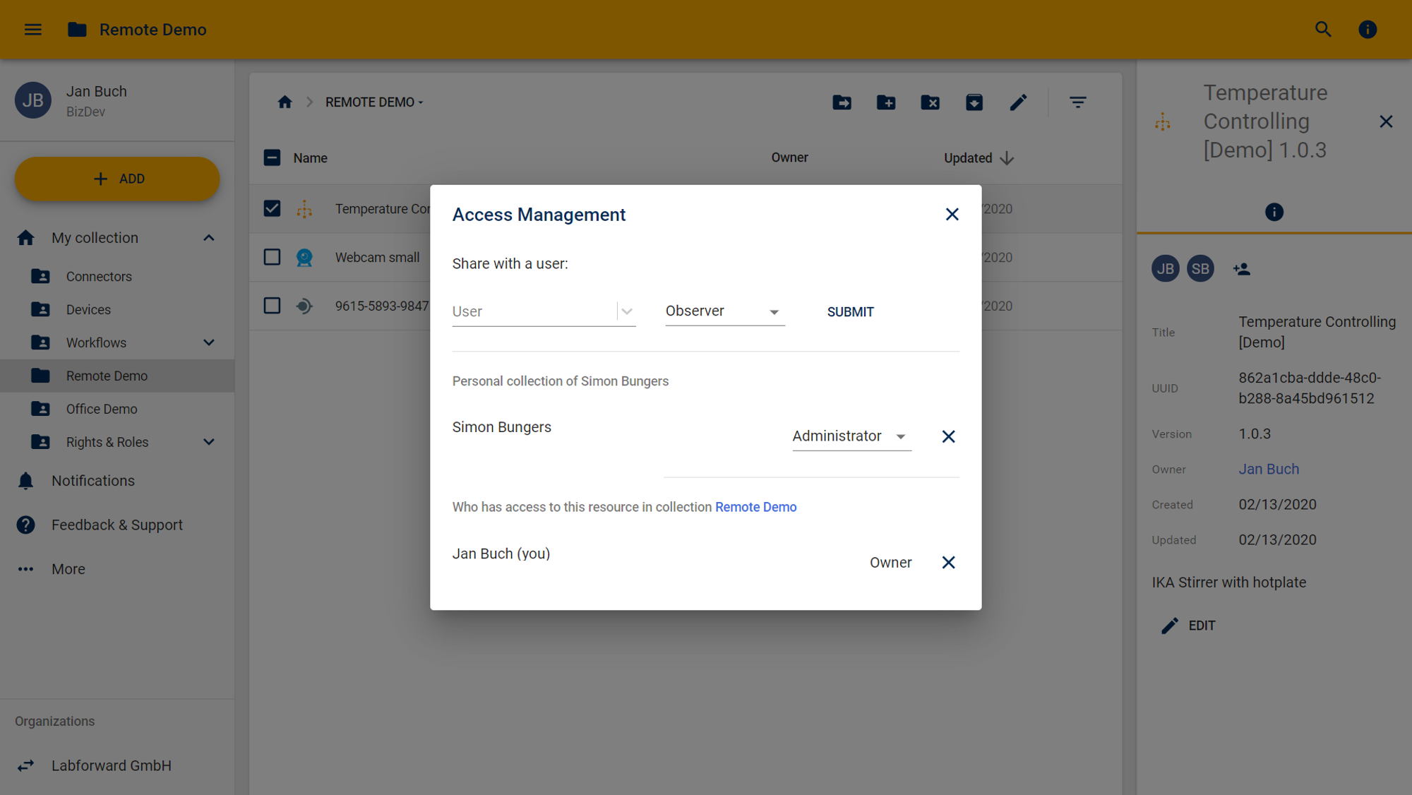 Laboperator Screenshot Access Management